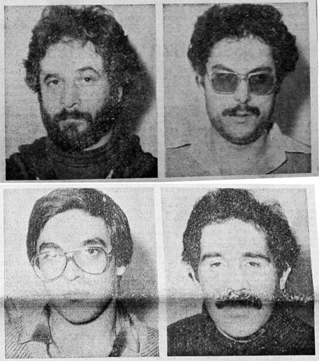 Angelo Pascolini, Luciano Burrai, Carlo Manunta and Antonio Solinas. Four militants arrested in a confrontation at a police roadblock in Sassari, December 18, 1979.