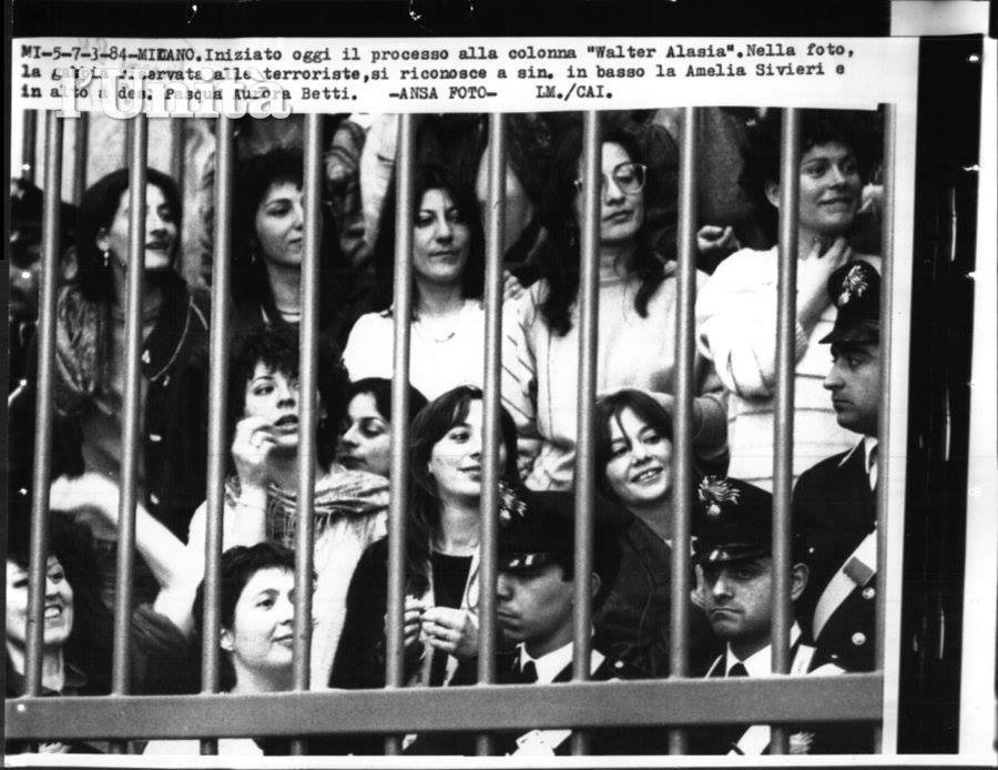 Militants of the Walter Alasia Column of the BR on trial in Milan, 1984.